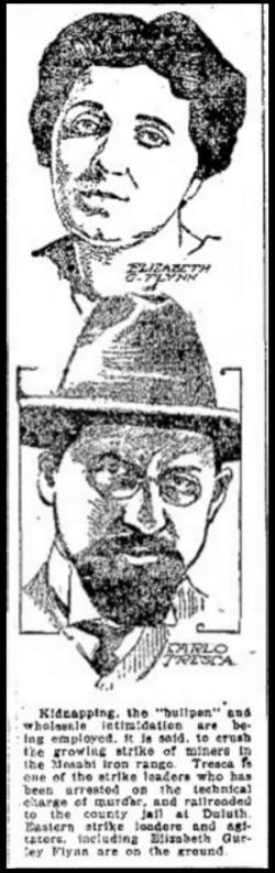 EGF, Tresca, MN Iron Miners Strike, Logansport (IN) Daily Tb, July 29, 1916