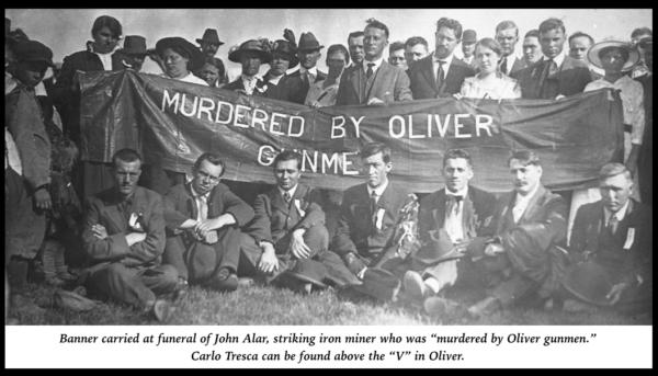 John Alar Funeral, w Carlo Tresca & Banner, June 26, 1916