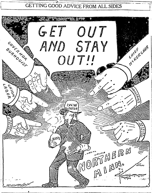 MN Miners Strike, Get Out IWW, Cartoon
