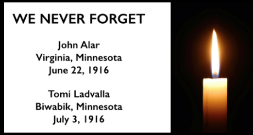 WE NEVER FORGET, Alar, Ladvalla, Mesabi 1916