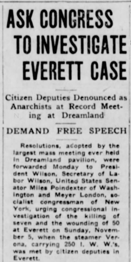 Everett Massacre Dreamland Mtg 11/19, Stt Str, Nov 20, 1916, p1a