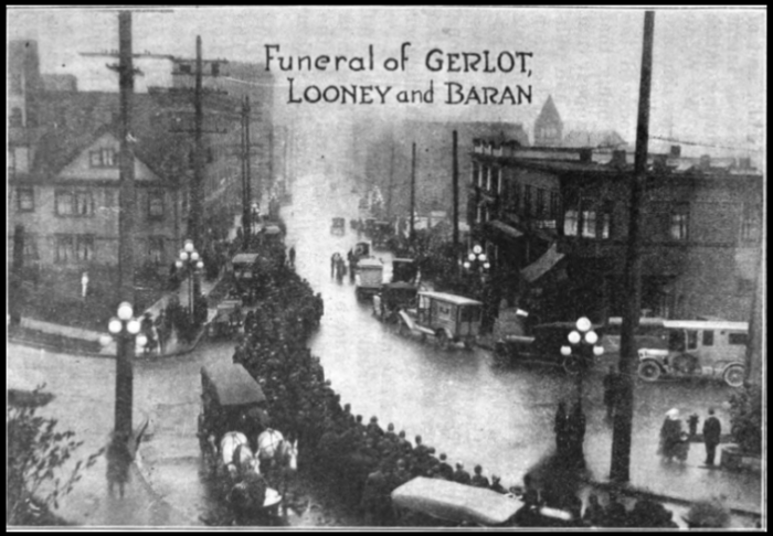 Everett Massacre, Funeral Gerlot, Looney, Baran, Nov 18, 1916, WCS
