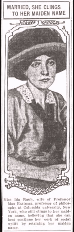 Ida Rauh, Married Clings to Maiden Name, OR Dly Jr, Dec 10, 1911