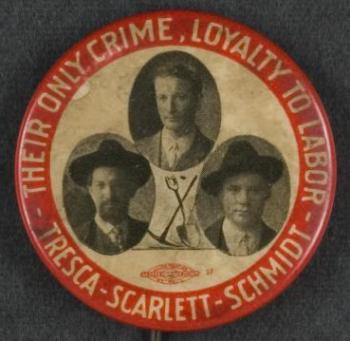 MN Iron Range Strike, Tresca Scarlett Schmidt Button, 1916
