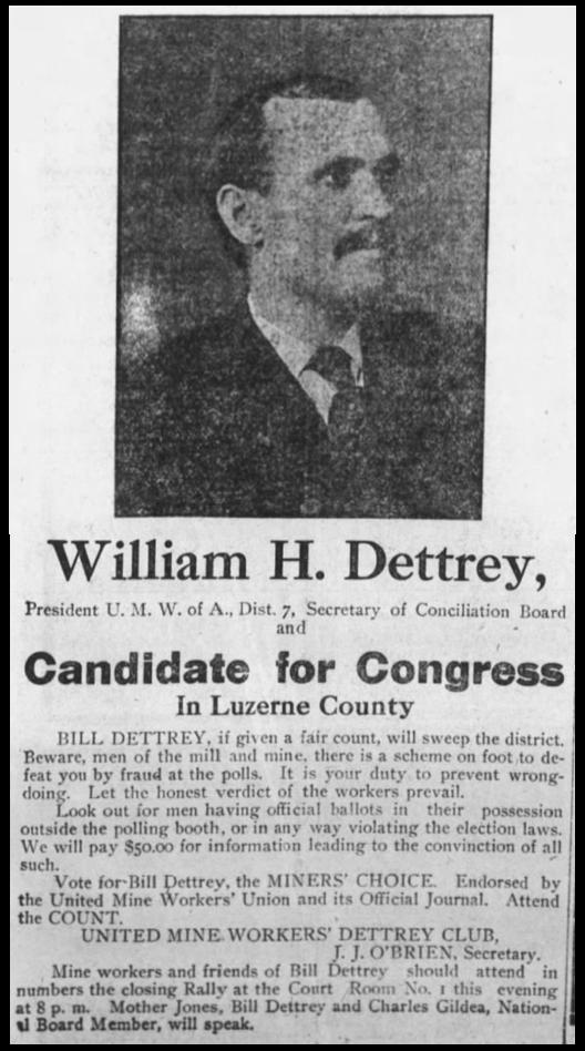 Mother Jones, Dettrey f/ Congress, W-B Tx, Nov 5, 1906