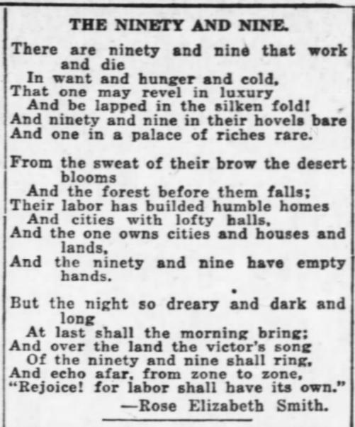 Ninety and Nine, Rose E Smith, AtR, Dec 30, 1916