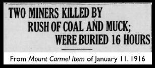 PN Miners Killed on Job, Mt Carmel Item, Jan 11, 1916