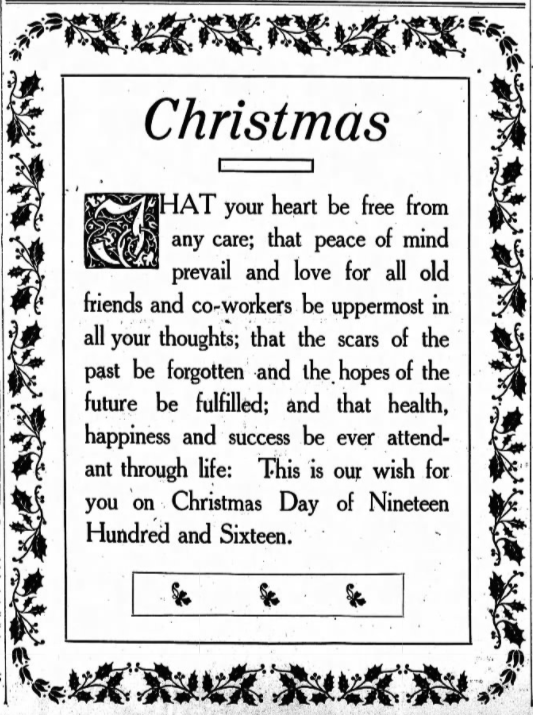 The Labor World, Christmas Wish, Dec 23, 1916
