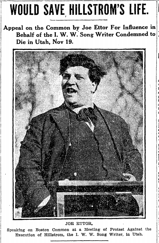 Joe Ettor Speaks in Boston for Joe Hill, Globe, Nov 8, 1915