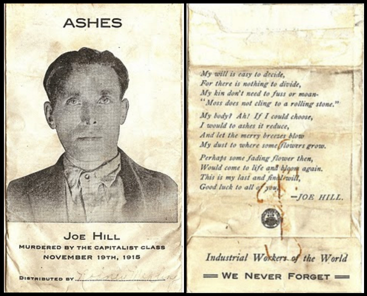 Joe Hill Ashes, Envelope, November 1916
