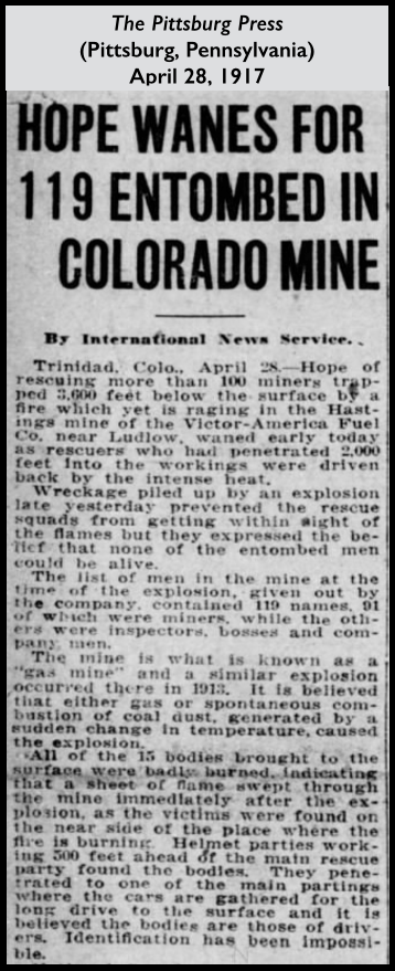 Hastings Mine Disaster, Pittsburgh (PA) Press, Apr 28, 1917
