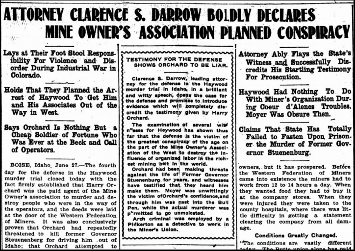 HMP, Darrow Declares MOA Conspiracy, LW, June 29, 1907