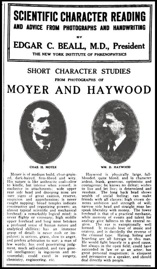 HMP, Phrenology Beall, Wilshires June 1907