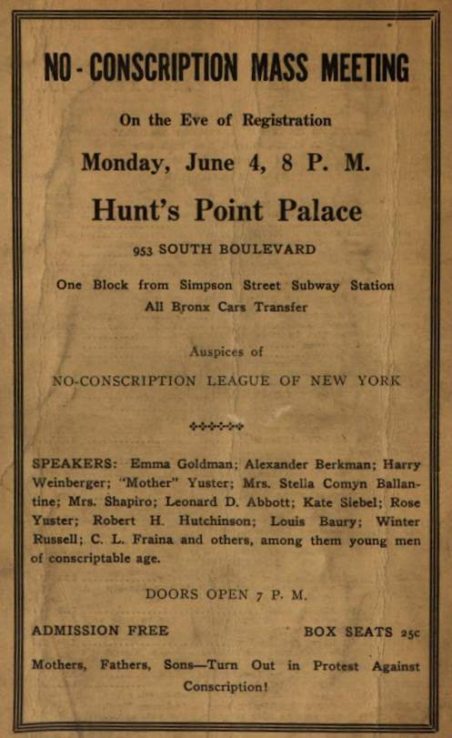Mother Earth, Ad Anti-Draft Meeting, June 1917