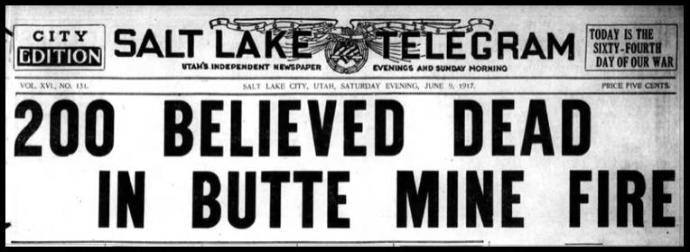 Speculator Mine Disaster, HDLN, Salt Lake Telegram, June 9, 1917