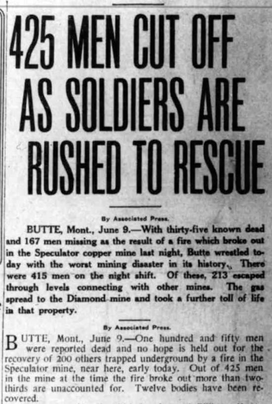 Speculator Mine Disaster, Men Cut Off, SL Telegram, June 9, 1917