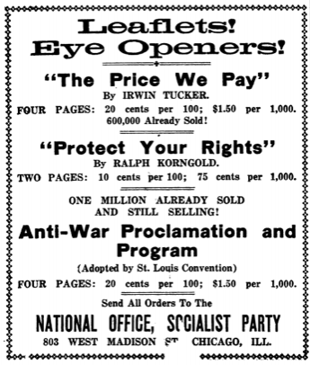 American Socialist, Ad Price We Pay, Tucker, June 16, 1917