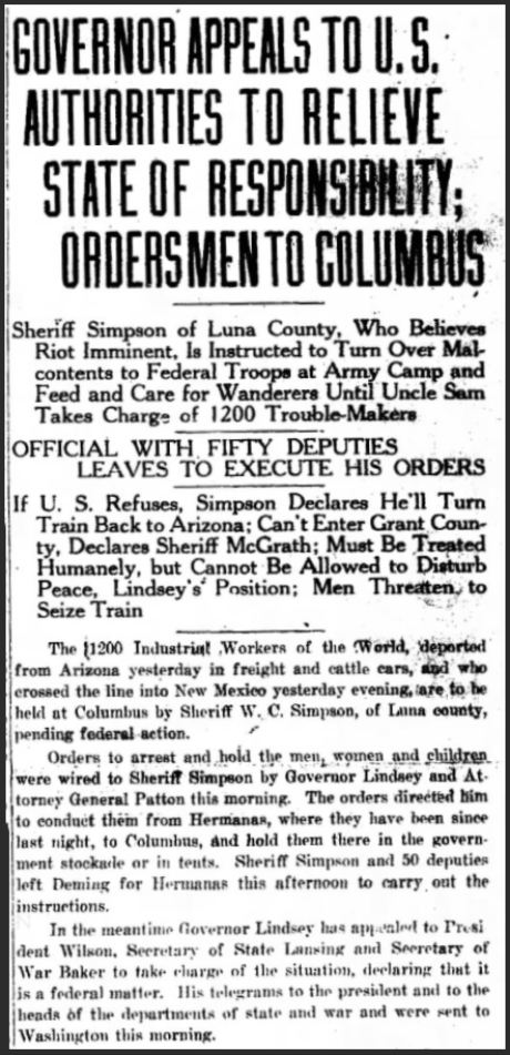 Bisbee Deportation, IWW US Army, StFe NMxn, July 13, 1917