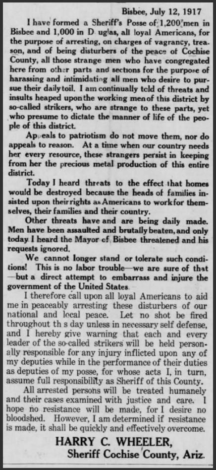 Bisbee Deportation, Sheriff Warning, Bsb Dly Rv, July 12, 1917