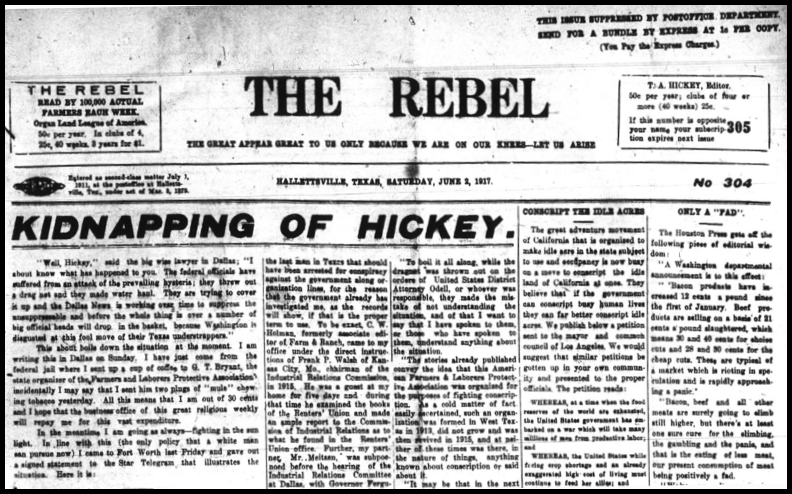 Hallettsville, TX, The Rebel, Hickey Kidnapping, June 2, 1917