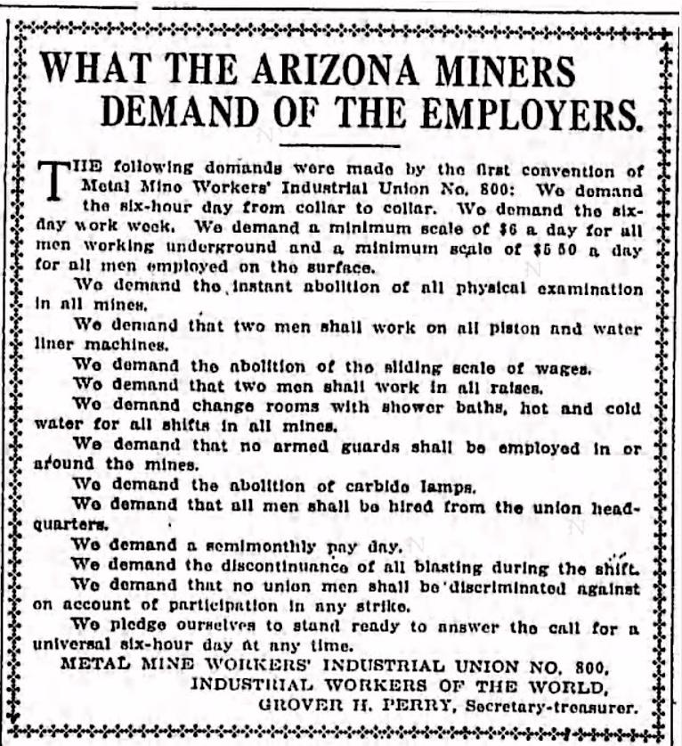 IWW, MMWIU 800, AZ Demands, LA Tx, July 4, 1917