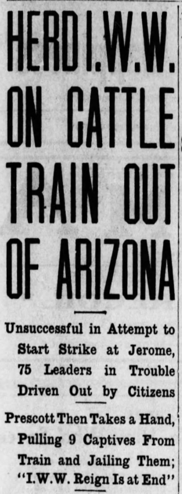 Jerome Deportation, IWW Cattle Train, AZ Dly Str, July 11, 1917