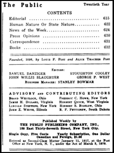 The Public, Masthead, June 29, 1917