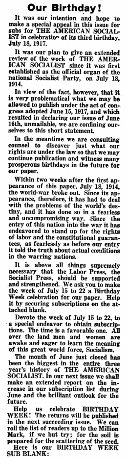WWIR, American Socialist BD, July 7, 1917