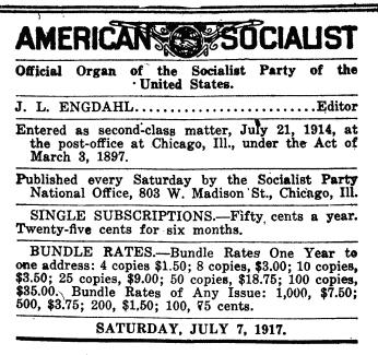 WWIR, American Socialist Editor Engdahl, July 7, 1917