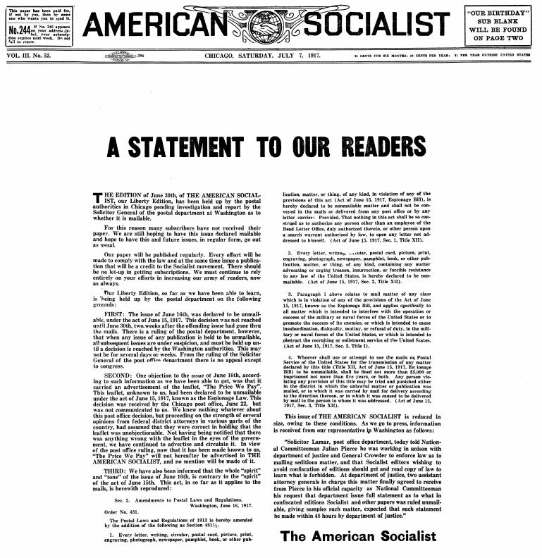 WWIR, American Socialist Statement, July 7, 1917