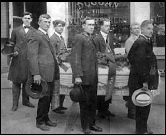 Frank Little Funeral, Casket Duggans, Butte Aug 5, 1917