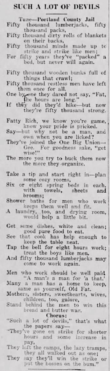 50,000 Lumber Jacks, NW Worker, Aug 24, 1917