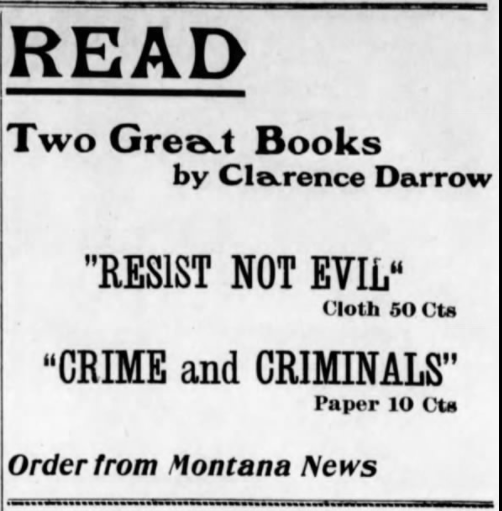 Clarence Darrow, Ad for books, MT Ns, Sept 5, 1907