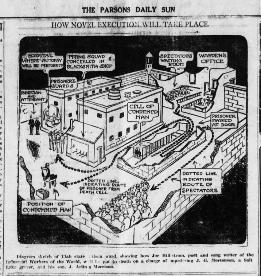 Joe Hill execution , Diagram sketch of Utah state prison yard, Parsons (KS) Daily Sun, Nov 13, 1915