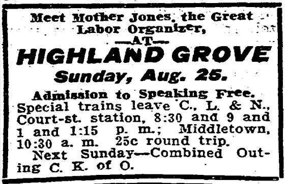 MJ, Ad Speech, Cinc Post p4, Aug 23, 1907