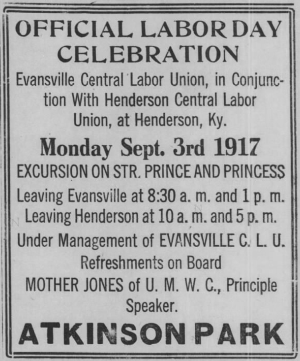 MJ Labor Day Evansville IN, Henderson KY, Evl Prs, Aug 29, 1917