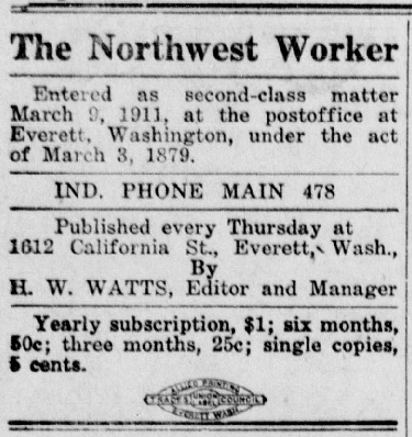 Northwest Worker, ed HW Watts, Sept 27, 1917
