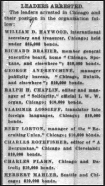 WWIR, IWW Leaders Arrested, Chg Dly Tb, Sept 29, 1917