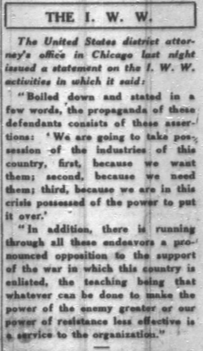 WWIR, IWW US DA statement re, Chg Dly Tb, Sept 29, 1917