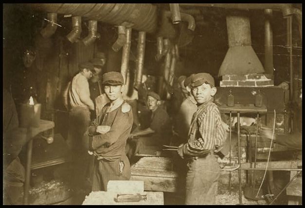 Child Labor, Glass Works Midnight IN, Hine, LOC, Aug 1908