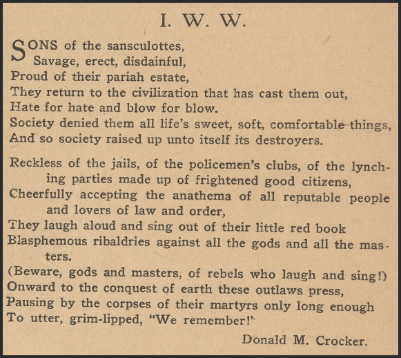 IWW Poem by Donald M Crocker, Masses, Oct 1917