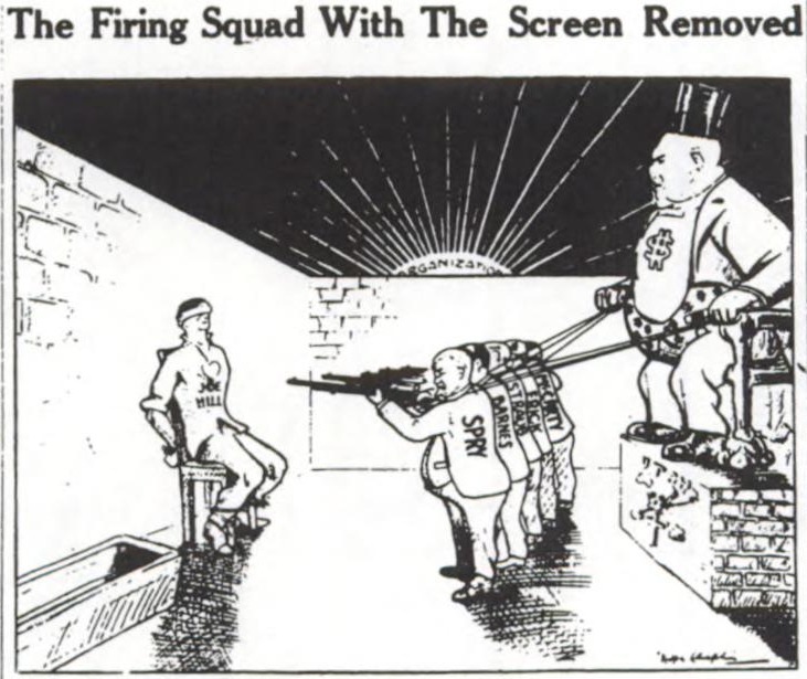 Joe Hill, Cartoon/ Firing Squad with Screen Removed, Solidarity Newspaper of Nov 27, 1915