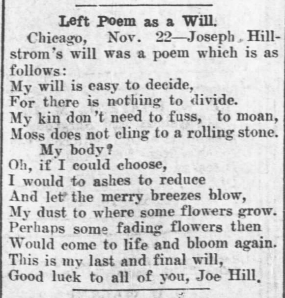 Joe Hill Last Will, The Salina (KS) Evening Jr, Nov 22, 1915