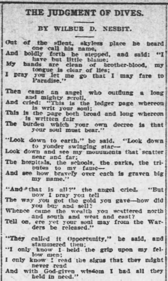 Judgment of Dives by WD Nesbit 1, Poem, AtR Oct 19, 1907