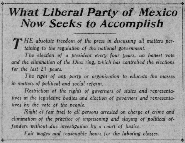 Mexican Revolution, Text re Liberal Party, SF Call p21, Sept 29, 1907