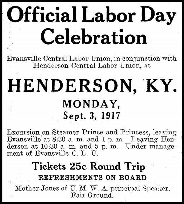 Mother Jones, Labor Day Henderson KY, Evl IN Cr p4, Sept 2, 1917