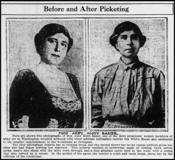 Suffragists, Abby Scott Baker, Prison, Rmd IN Pldm, Oct 22, 1917