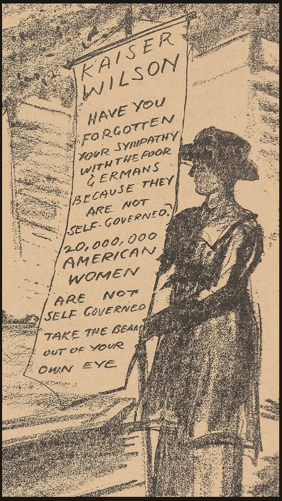 Woman Suffrage, Jailed by Robinson, Detail 2, Masses Oct 1917