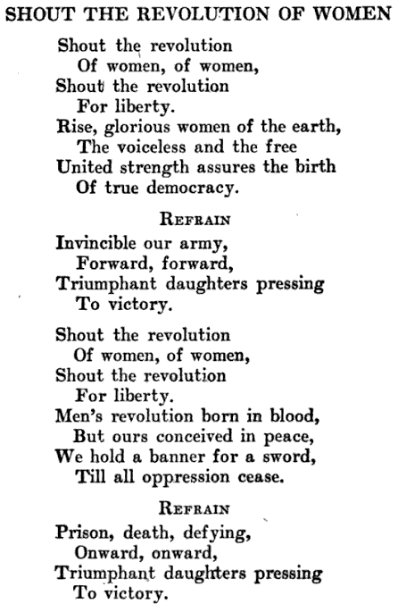 Woman Suffrage, Song Revolution, Jailed for Freedom, D Stevens, 1920
