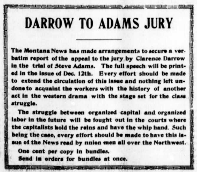 Ad Darrow to Adams Jury, MTNs, Nov 28, 1907